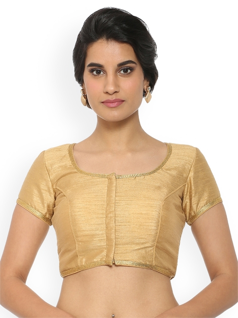Soch Gold-Coloured Solid Saree Blouse