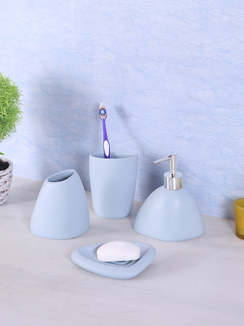 House Of Accessories Blue Set Of 4 Bathroom Accessories