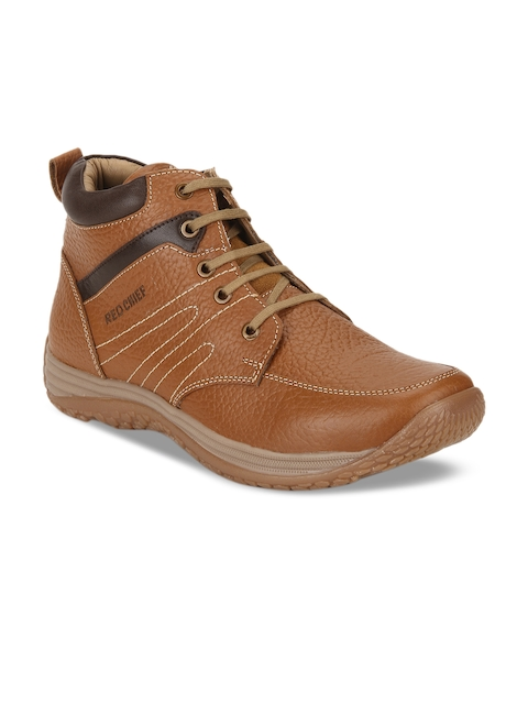 Red Chief Men Tan Brown Solid Leather Mid-Top Trekking Shoes