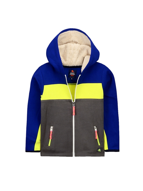Cherry Crumble Unisex Grey & Blue Colourblocked Hooded Sweatshirt