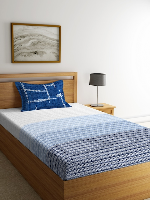 Portico New York Turquoise Blue & Grey Fitted 144 TC Cotton Bedsheet with 2 Pillow Cover