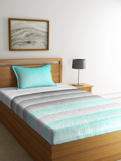 Portico New York Turquoise Blue & Grey Striped Flat 144 TC 1 Bedsheet 1 Pillow Cover