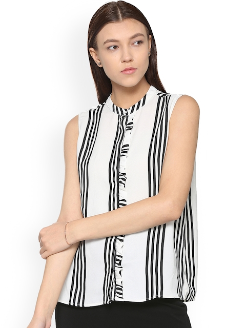 Van Heusen Woman Black & White Regular Fit Striped Casual Shirt