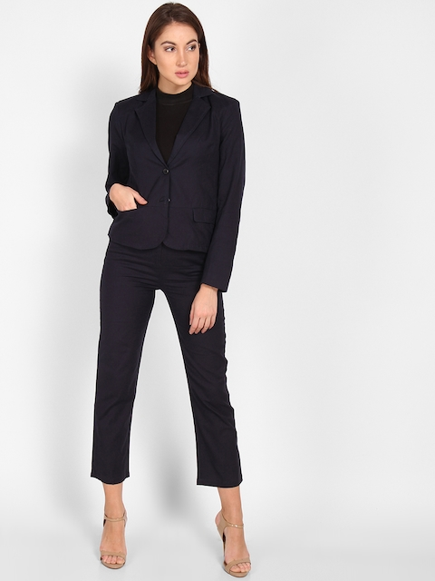 StalkBuyLove Women Navy Blue Solid Coat with Trousers