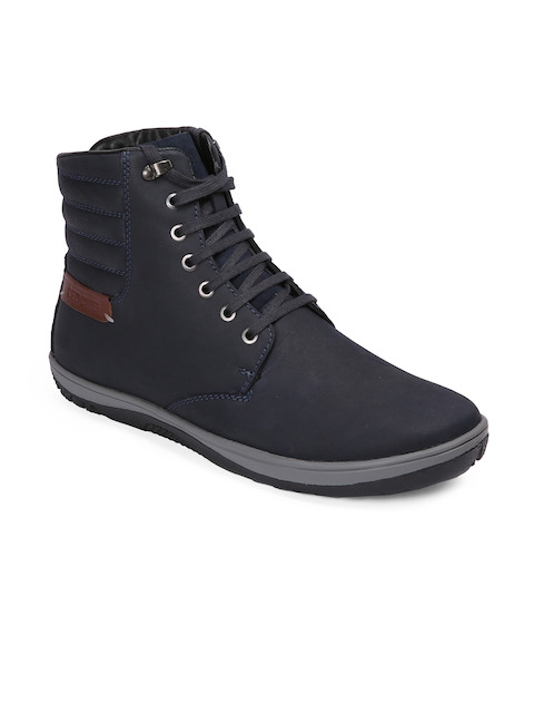 Red Chief Men Blue Solid Leather High-Top Flat Boots
