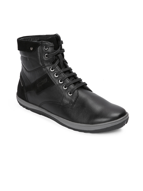 Red Chief Men Black Solid Leather High-Top Flat Boots