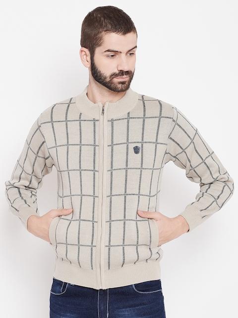 Duke Stardust Men Beige & Charcoal Grey Self Checked Cardigan