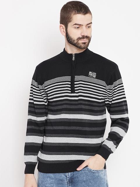 Duke Men Black & Grey Striped Pullover
