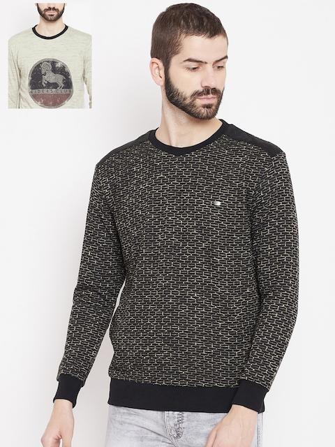Duke Men Black & Beige Reversible Sweatshirt