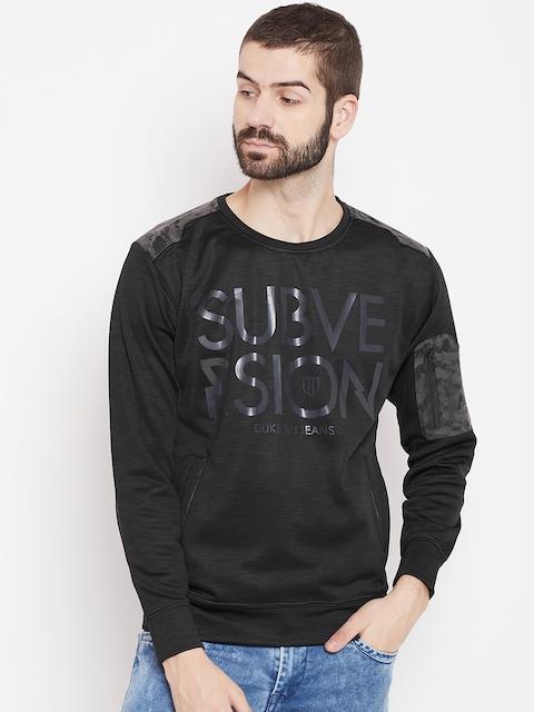 Duke Men Black Printed Sweatshirt