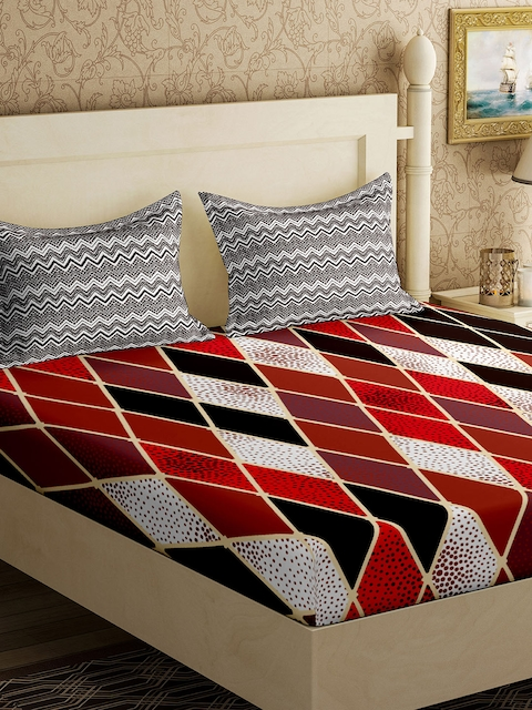 EverHOME Multicoloured Geometric Flat 210 TC Cotton 1 Double Bedsheet with 2 Pillow Covers