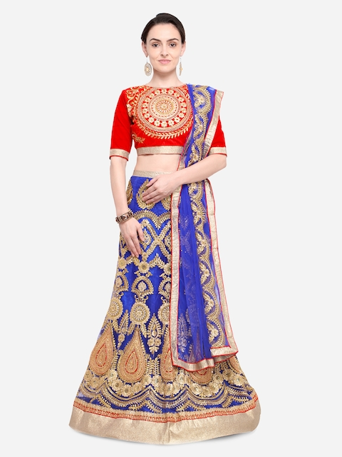 Aasvaa Blue & Red Embroidered Semi-Stitched Lehenga & Unstitched Blouse with Dupatta