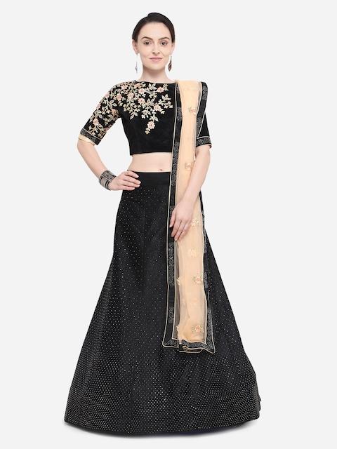 Aasvaa Black & Beige Embroidered Semi-Stitched Lehenga & Unstitched Blouse with Dupatta