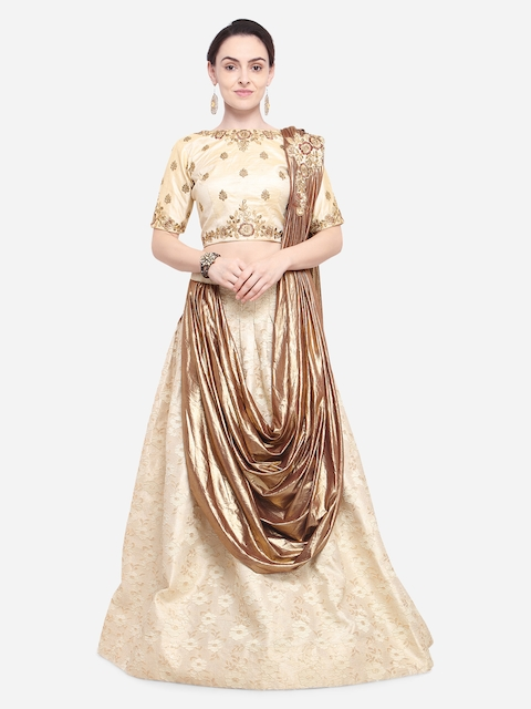 Aasvaa Golden-Colored Embroidered Semi-Stitched Lehenga Unstitched Blouse and Dupatta