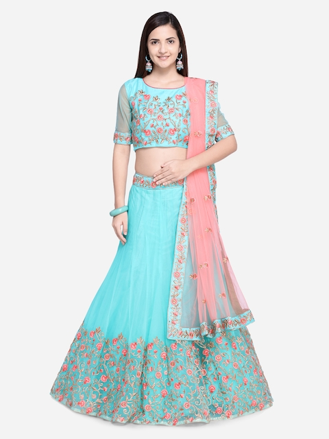 Aasvaa Sea Green & Pink Embroidered Semi-Stitched Lehenga & Unstitched Blouse with Dupatta