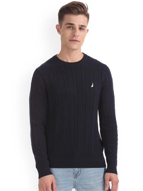 Nautica Men Navy Blue Self Design Pullover