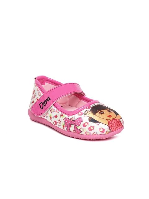 Dora Girls Pink & Off-White Printed Ballerinas