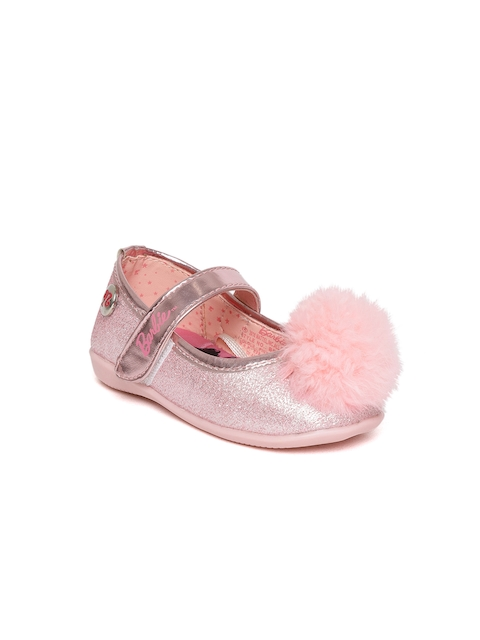 Barbie Girls Pink Shimmer Ballerinas with Pom Pom Detail