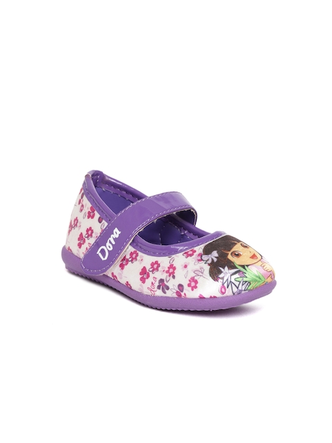 Dora Girls Off-White & Purple Printed Ballerinas