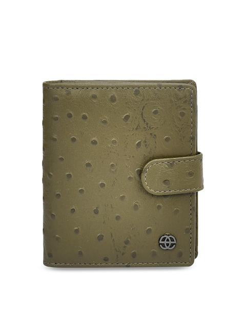 Eske Men Olive Green Solid Leather Card Holder