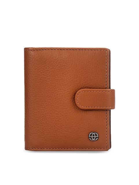 Eske Men Tan Solid Leather Card Holder