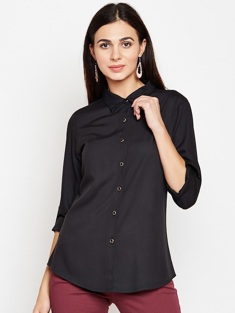 AASK Women Black Comfort Regular Fit Solid Casual Shirt