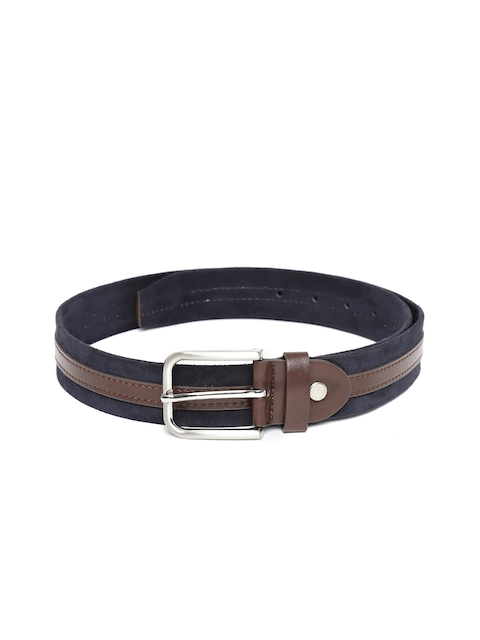 HAMILTON Men Navy Blue & Brown Striped Belt