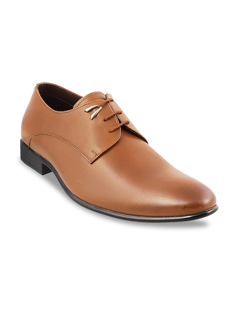 Mochi Men Tan Brown Leather Formal Derbys