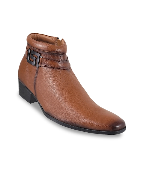 Mochi Men Tan Brown Leather Boots
