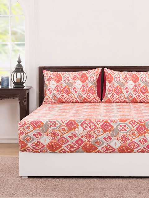 MASPAR Red Abstract Flat 210 TC Cotton 1 Double Bedsheet with 2 Pillow Covers