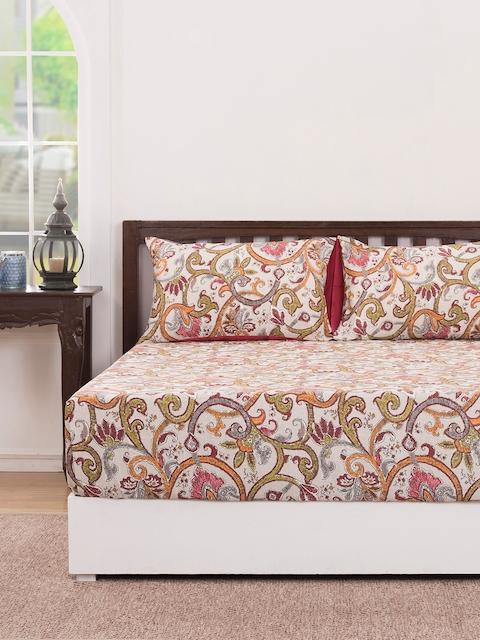 MASPAR Multicoloured Floral Flat 210 TC Cotton 1 Double Bedsheet with 2 Pillow Covers