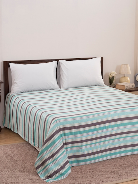 MASPAR Green & Brown Striped Double Bed Cover