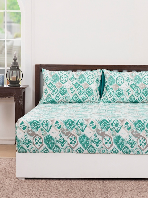 MASPAR Green Abstract Flat 210 TC Cotton 1 Double Bedsheet with 2 Pillow Covers