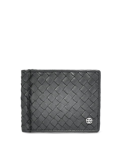 Eske Men Black Textured Leather Card Holder