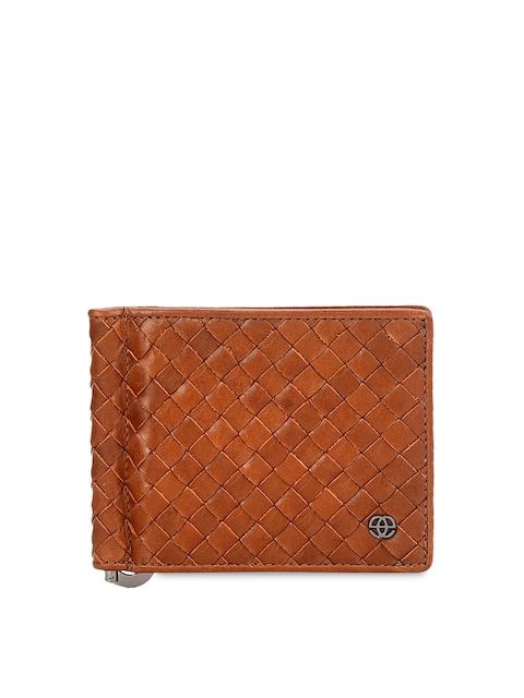 Eske Men Tan Brown Textured Leather Card Holder