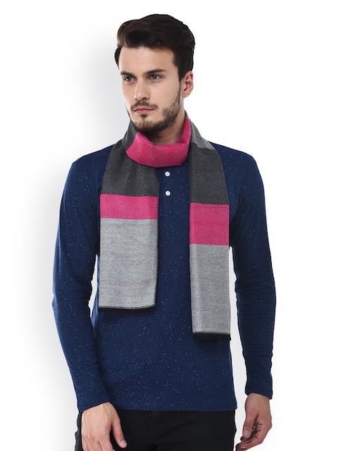 Tossido Men Grey & Pink Colourblocked Muffler