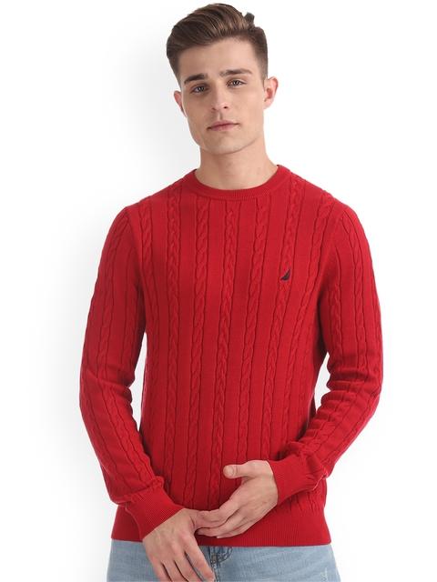 Nautica Men Red Solid Pullover