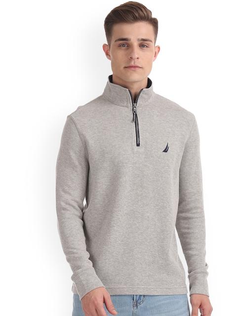 Nautica Men Grey Solid Sweatshirt