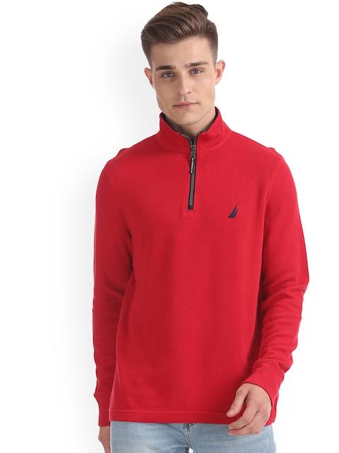 Nautica Men Red Solid Sweatshirt