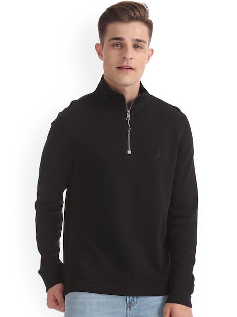 Nautica Men Black Solid Sweatshirt