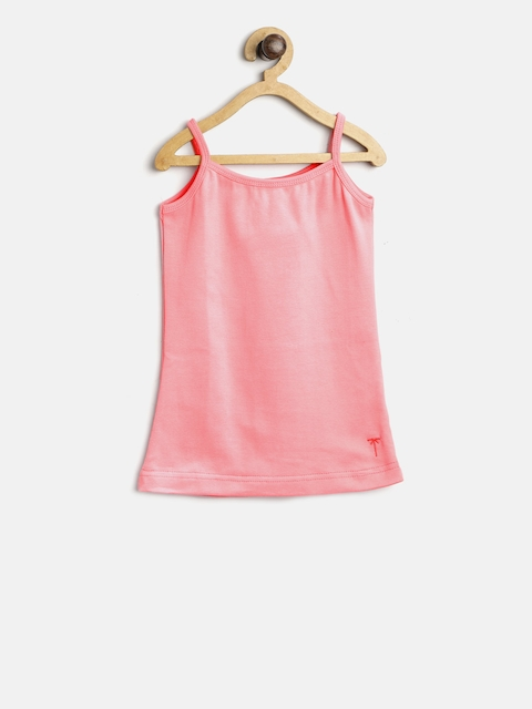 Palm Tree Girls Pink Solid Camisole 131260690377 C504