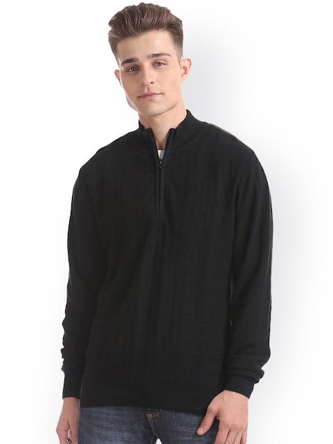 Arrow Sport Men Black Solid Front-Open Sweater