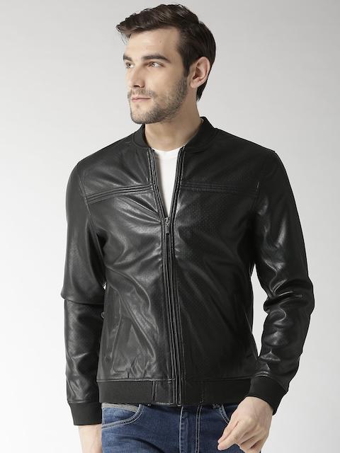 Arrow Sport Men Black Self Design Bomber Jacket