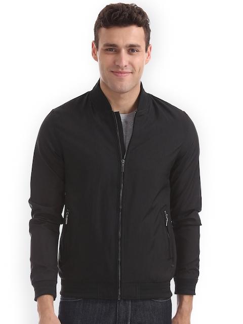 Arrow New York Men Black Solid Bomber Jacket