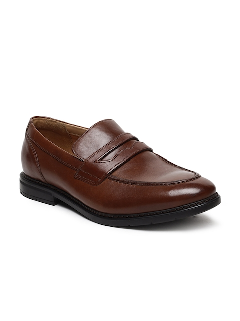 Clarks Men Tan Brown Leather Formal Slip-Ons