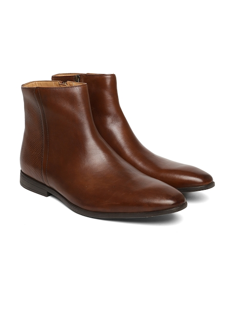 Clarks Men Brown Textured Leather High-Top Flat Boots