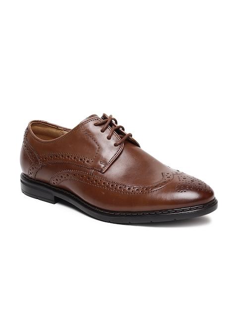 Clarks Men Tan Brown Leather Brogues