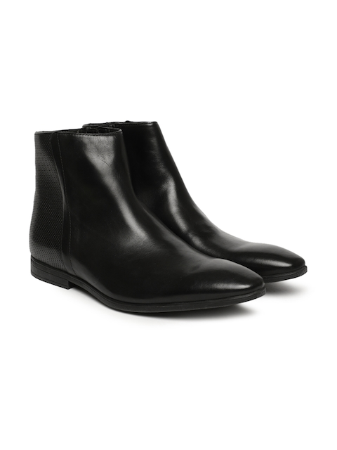 Clarks Men Black Bampton Solid Leather High-Top Flat Boots
