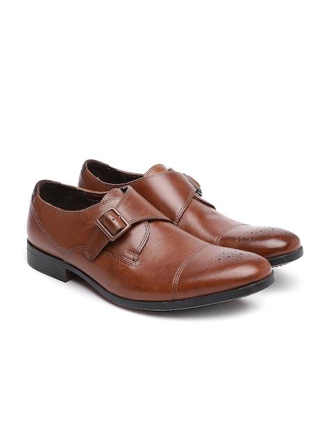 Clarks Men Tan Brown Formal Leather Monk Shoes