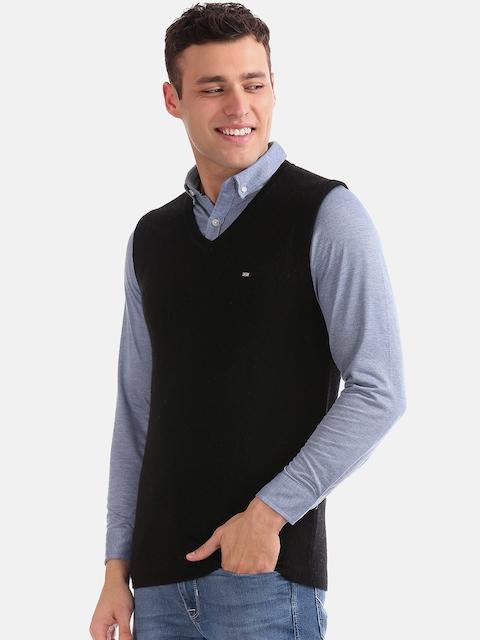Arrow Sport Men Black Solid Sweater Vest